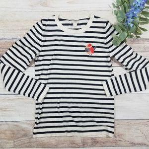 J. Crew embroidered bird striped sweater